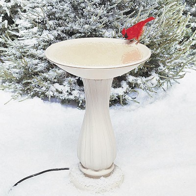 "Heated 20"" Bird Bath with Pedestal"