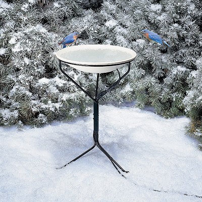 "Heated 20"" Bird Bath with Metal Stand"