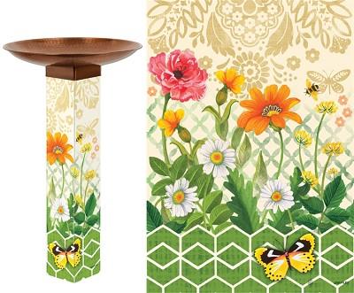Daisy Garden Art Pole Birdbath 5x5