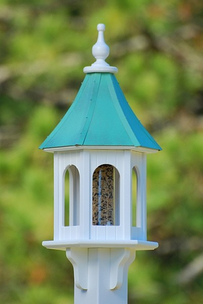 "10"" Gazebo Bird Feeder Patina Copper"