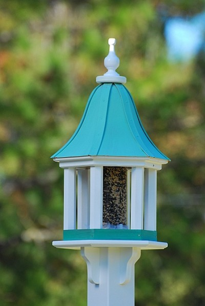 "12"" Gazebo Bird Feeder Patina Copper Columns"