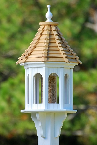 "14"" Gazebo Bird Feeder Cypress Shingle Slope"