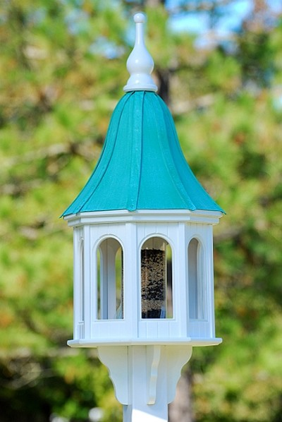 "16"" Gazebo Bird Feeder Patina Copper Bell"