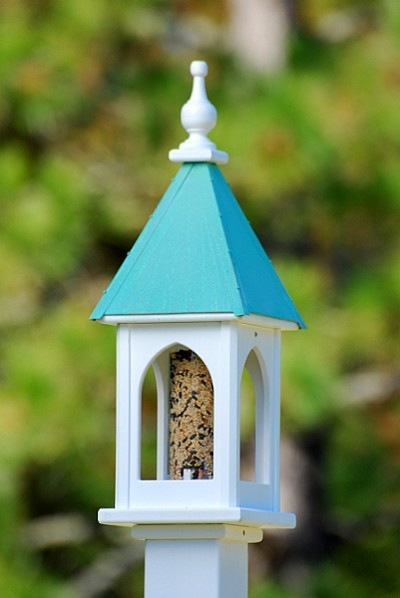 "8"" Square Gazebo Bird Feeder Patina Copper"