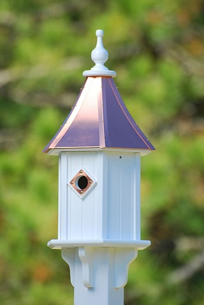 "10"" Blue Bird Birdhouse 1 Compartment Portal Bright Copper"