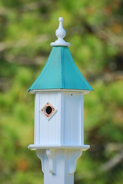 "10"" Blue Bird Birdhouse 1 Compartment Portal Patina Copper"
