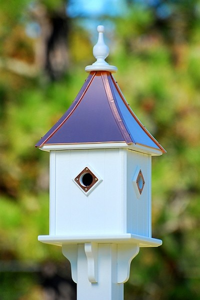"10"" Blue Bird Square Birdhouse 4 Room Portals Bright Copper"