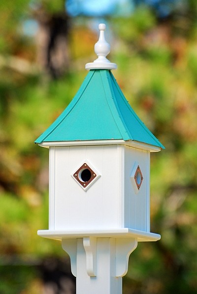 "10"" Blue Bird Square Birdhouse 4 Room Portals Patina Copper"