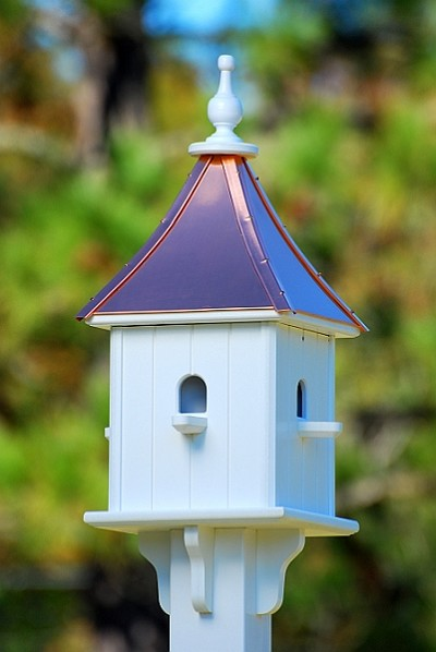 "10"" Blue Bird Square Birdhouse 4 Room Perches Bright Copper"