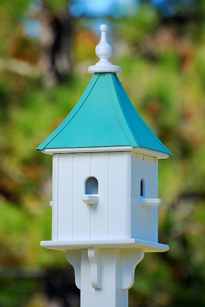 "10"" Blue Bird Square Birdhouse 4 Room Perches Patina Copper"