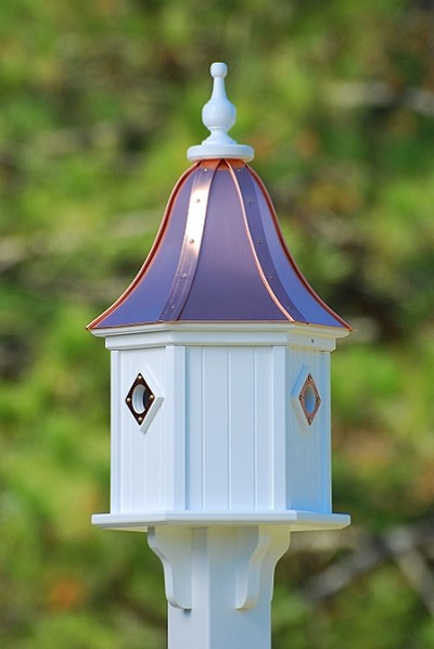 "12"" Dovecote Birdhouse 3 Compartment Portals Bright Copper"