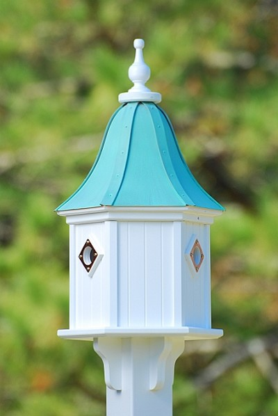 "12"" Dovecote Birdhouse 3 Compartment Portals Patina Copper"