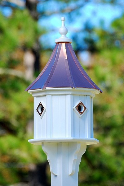 "14"" Dovecote Birdhouse 4 Compartment Portals Bright Copper Slope"
