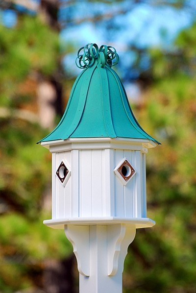 "14"" Dovecote Birdhouse 4 Compartment Portals Patina Copper Curly"