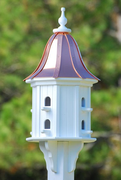 "14"" Dovecote Birdhouse 8 Compartment Perches Bright Copper Bell"