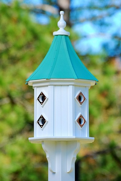 "14"" Dovecote Birdhouse 8 Compartment Portals Patina Copper Slope"