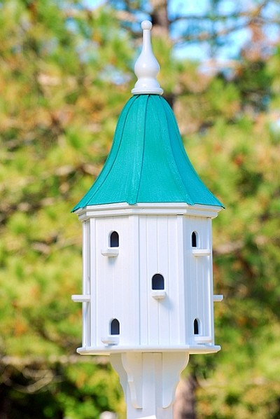 "16"" Dovecote Birdhouse 12 Rooms Perches Patina Copper Bell"
