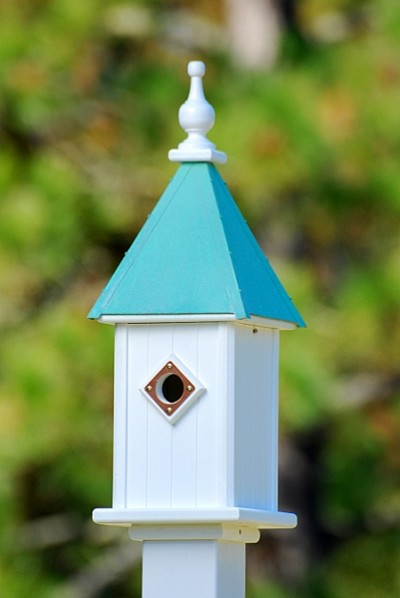 "8"" Blue Bird Birdhouse 1 Compartment Portal Patina Copper"