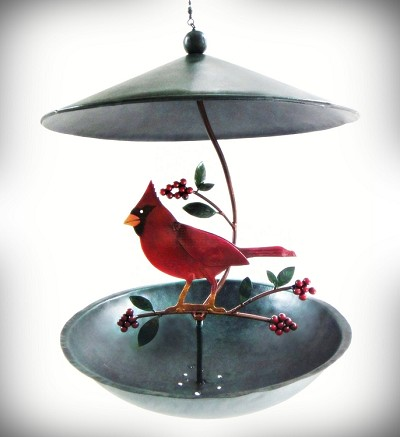 Cardinal and Holly Berries Bistro Bird Feeder