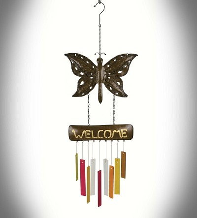 Rustic Welcome Butterfly Wind Chime