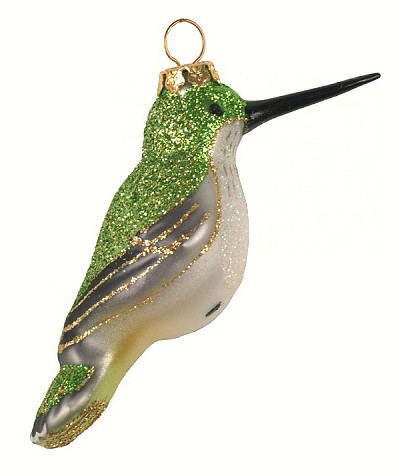 Cobane Studio Ruby-Throated Hummingbird Female Blown Glass Ornament