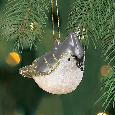 Cobane Studio Tufted Titmouse Blown Glass Ornament