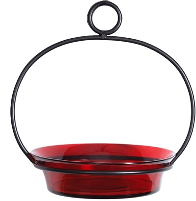 "Cuban Bowl Birdbath/Birdfeeder 8"" Red"