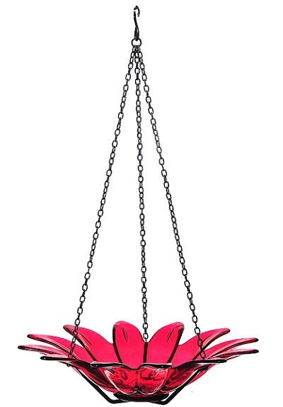"Daisy Hanging Bird Bath 12"" Red"