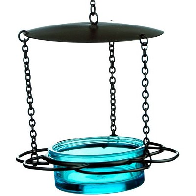 "Hanging Floral Mealworm & Jelly Feeder 21"" Teal"