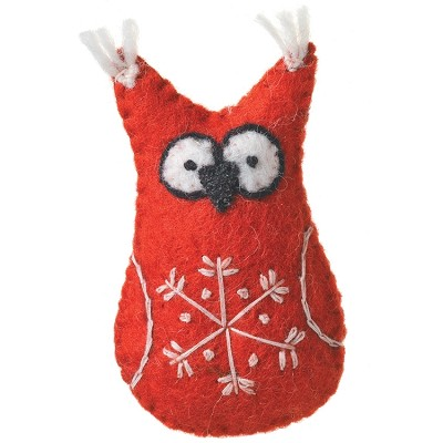 Snowflake Owl Red Ornament