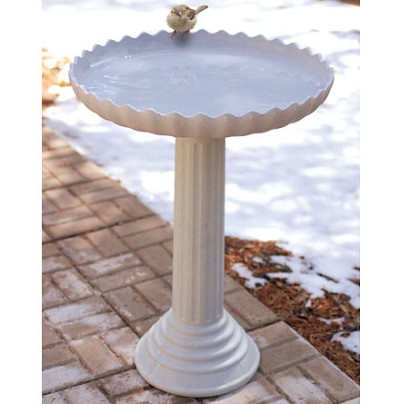 Scalloped Heated Bird Bath and Pedestal