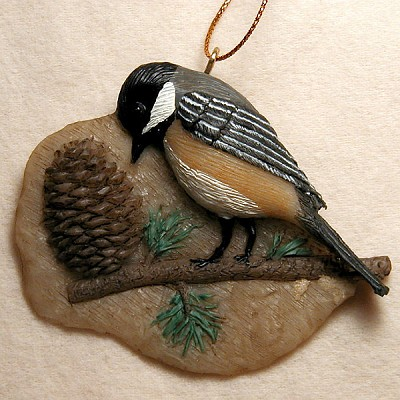 Chickadee Pine Cone Ornament