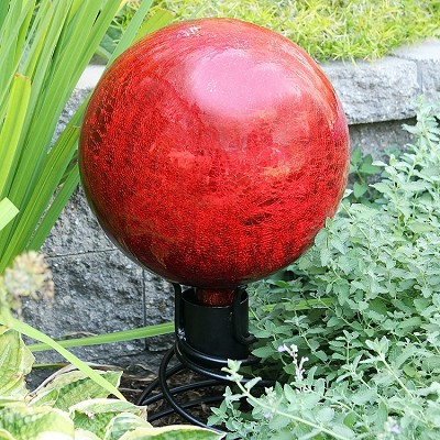 Crackle Glass Gazing Globe Red 10""
