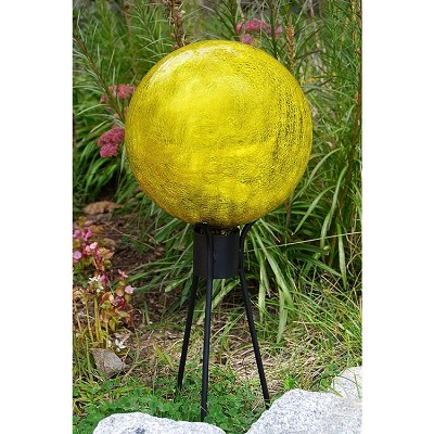 Crackle Glass Gazing Globe Lemon Drop 6""