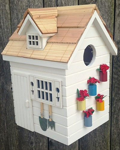 Nestling Series Potting Shed Bird House White