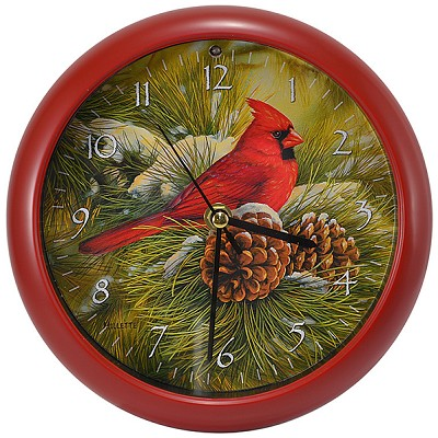Rustic Cardinals Sound Clock 8""