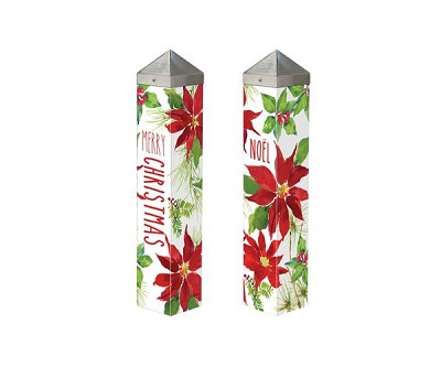 20 Inch Art Pole 4x4 Poinsettias and Holly