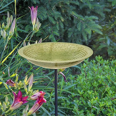 Alcyon Circles Staked Bird Bath Meadow Green