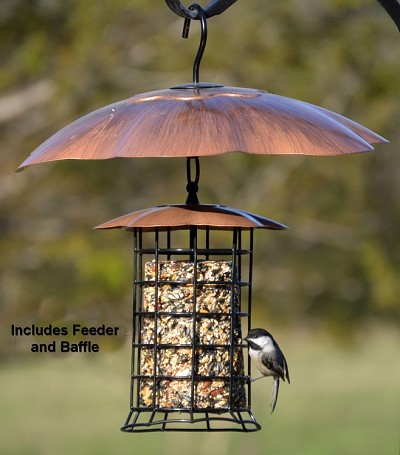 "Songbird Brushed Copper Roof Seed Log Feeder w/16"" Weather Baffle"