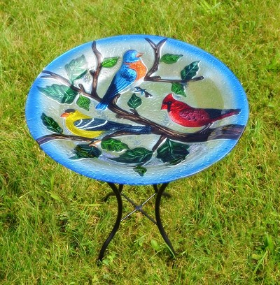 Songbird Trio Embossed Glass Birdbath with Stand