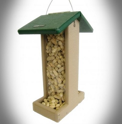 Second Nature Recycled Plastic Bluejay Whole Peanut Feeder Green Roof