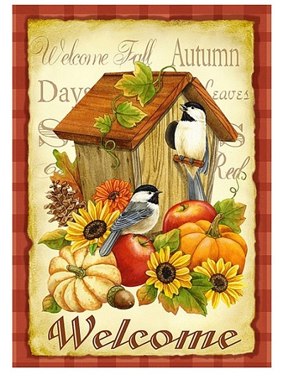 Autumn Birds House Flag